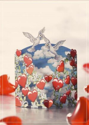 Hearts and doves - Romantic greeting card