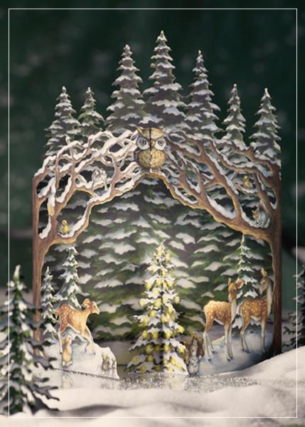 Winter forest - greeting card