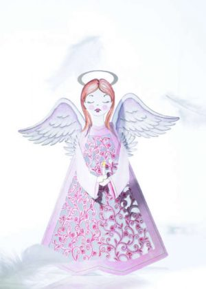 Angel Pink Christmas card